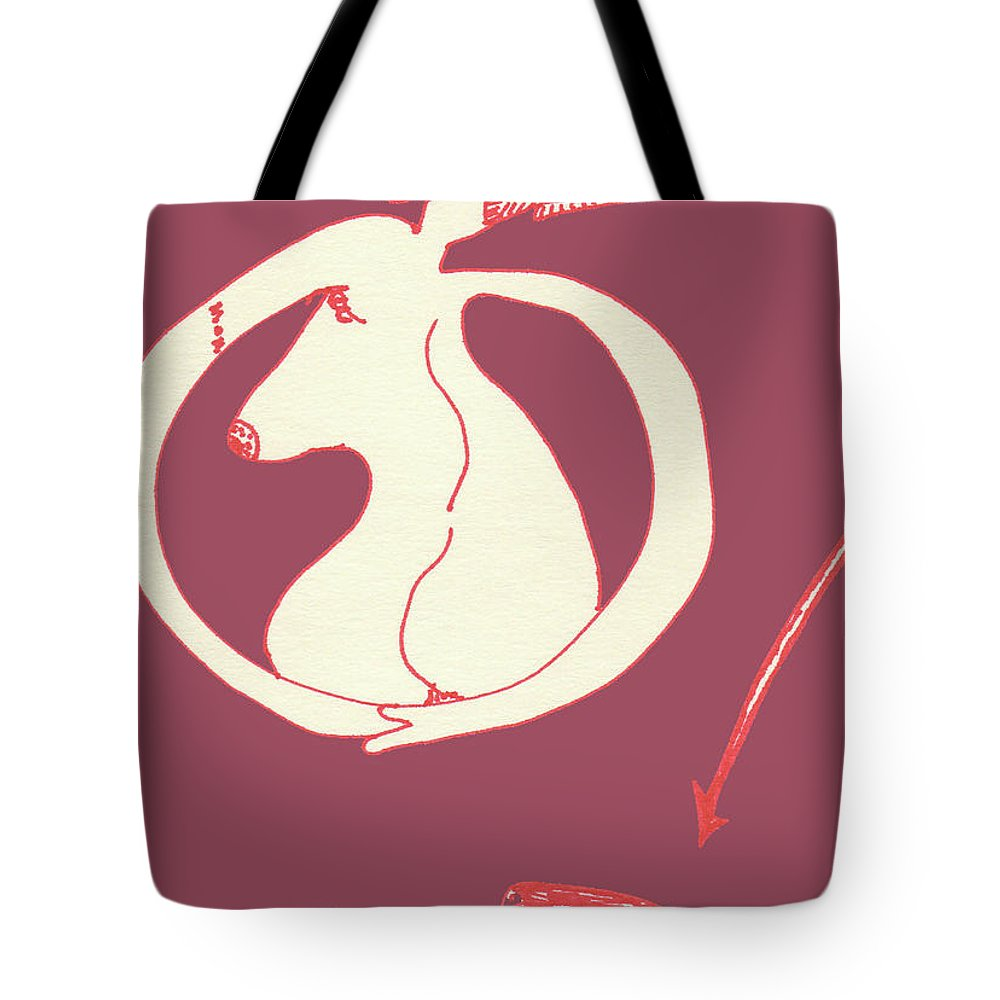 Drawing Tote Bag featuring the drawing New Mexico Moon Rose by Catherine Helmick