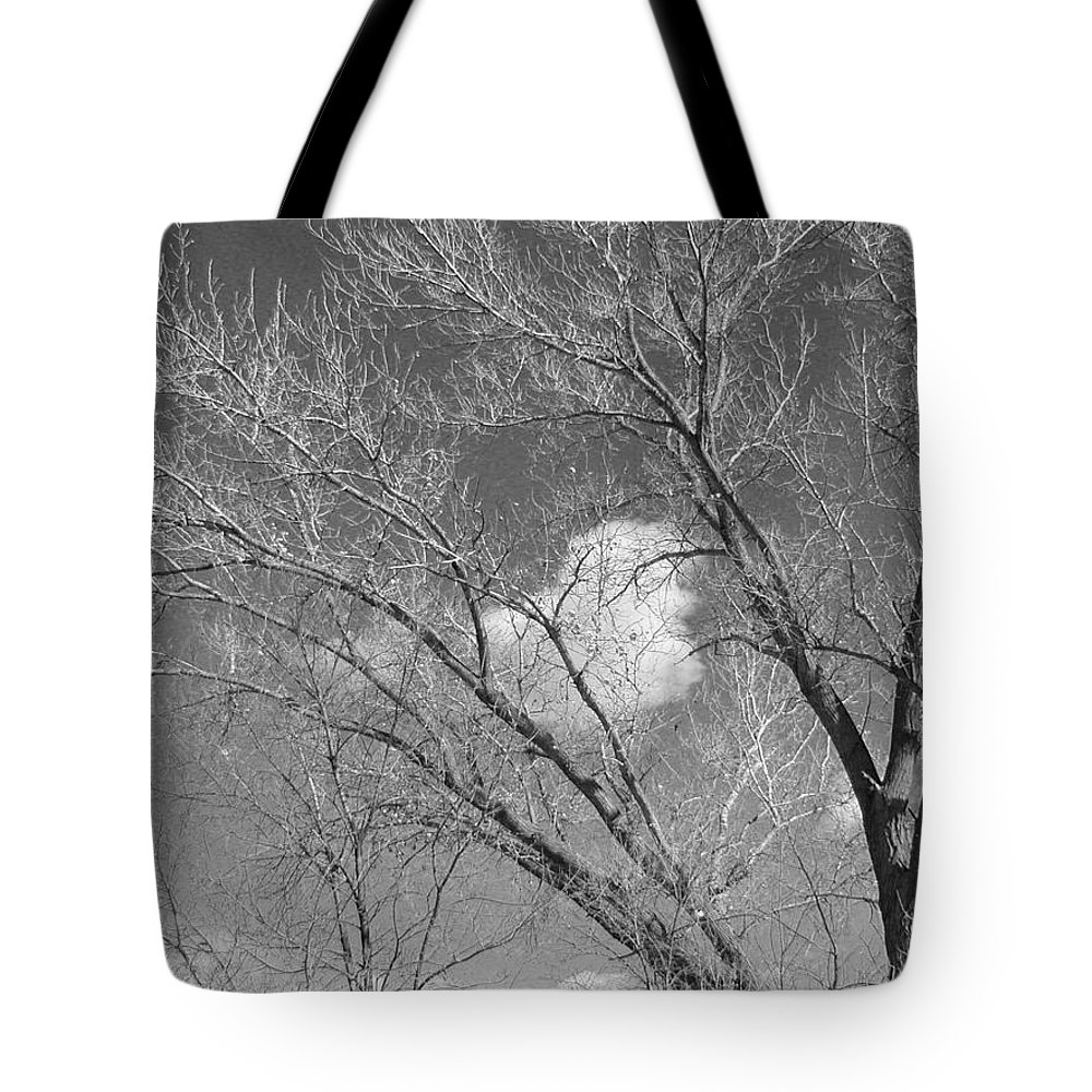 Landscape Tote Bag featuring the photograph New Mexico Series - A Cloud Behind Black And White by Kathleen Grace