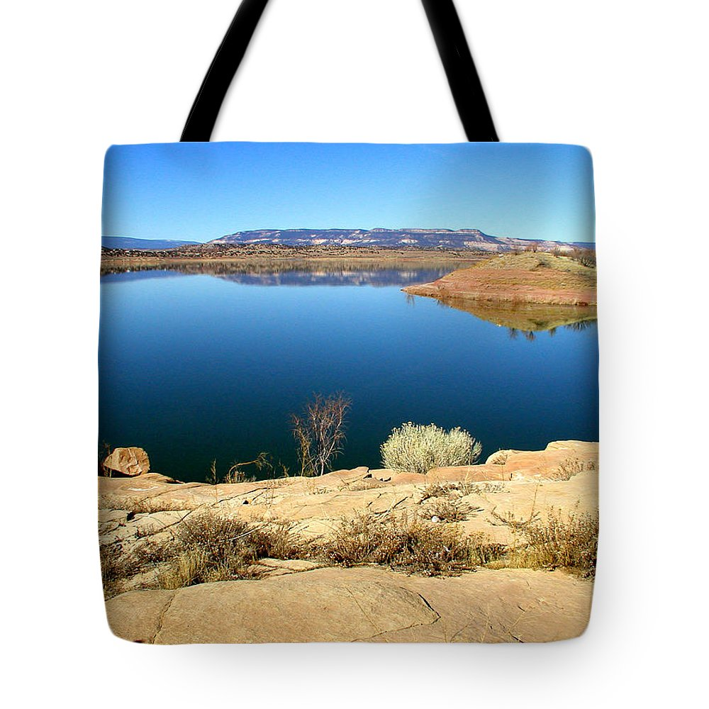 Lake Tote Bag featuring the photograph New Mexico Series - Abiquiu Lake by Kathleen Grace