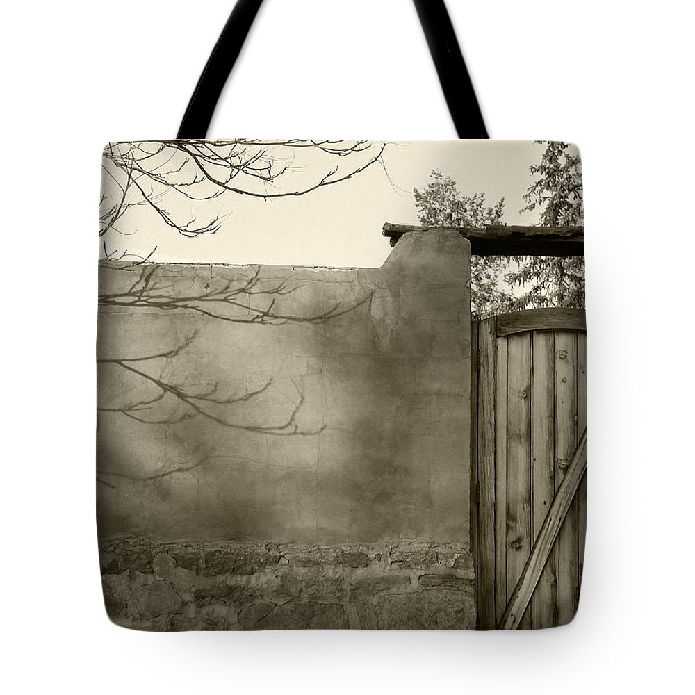Doorway Tote Bag featuring the photograph New Mexico Series - Doorway II Black And White by Kathleen Grace