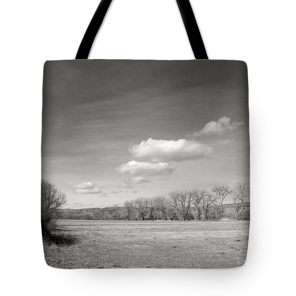 Landscape Tote Bag featuring the photograph New Mexico Series - The Long View Black And White by Kathleen Grace