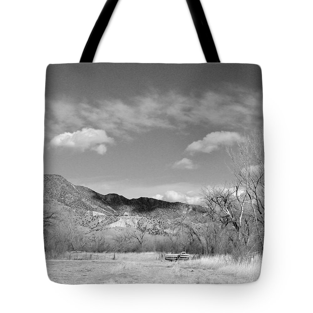 Landscape Tote Bag featuring the photograph New Mexico Series - Winter Desert Beauty Black And White by Kathleen Grace