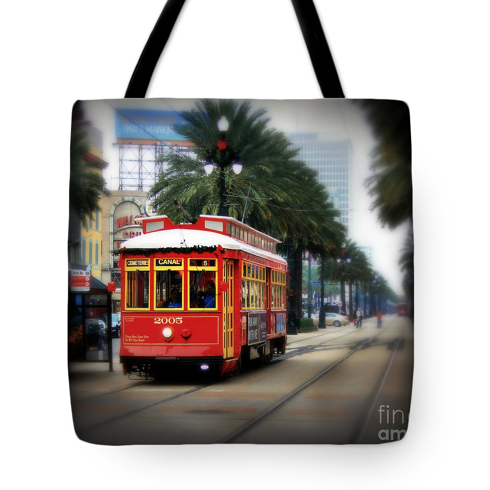 New Orleans Tote Bag featuring the photograph New Orleans Streetcar by Perry Webster