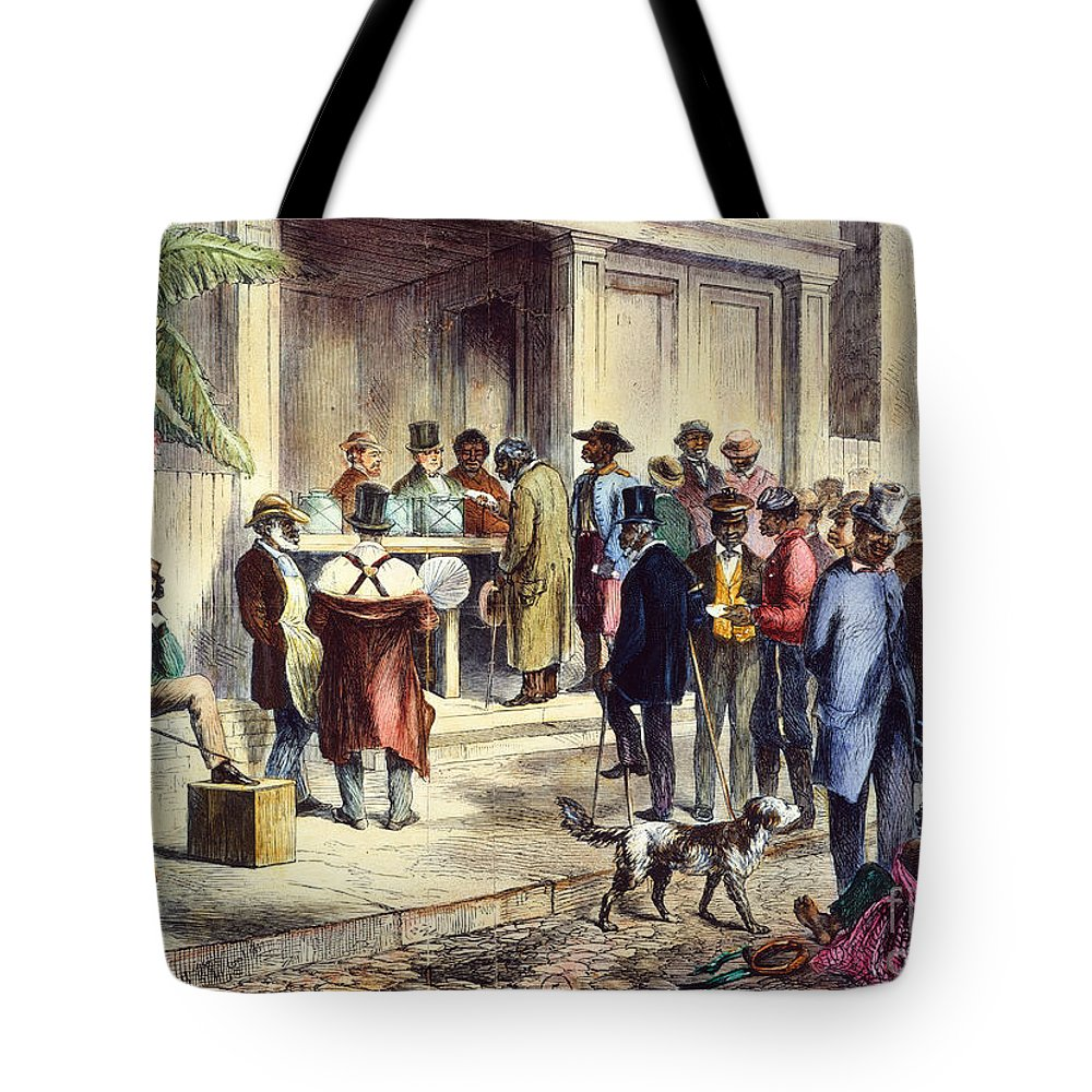 1867 Tote Bag featuring the photograph New Orleans: Voting, 1867 by Granger