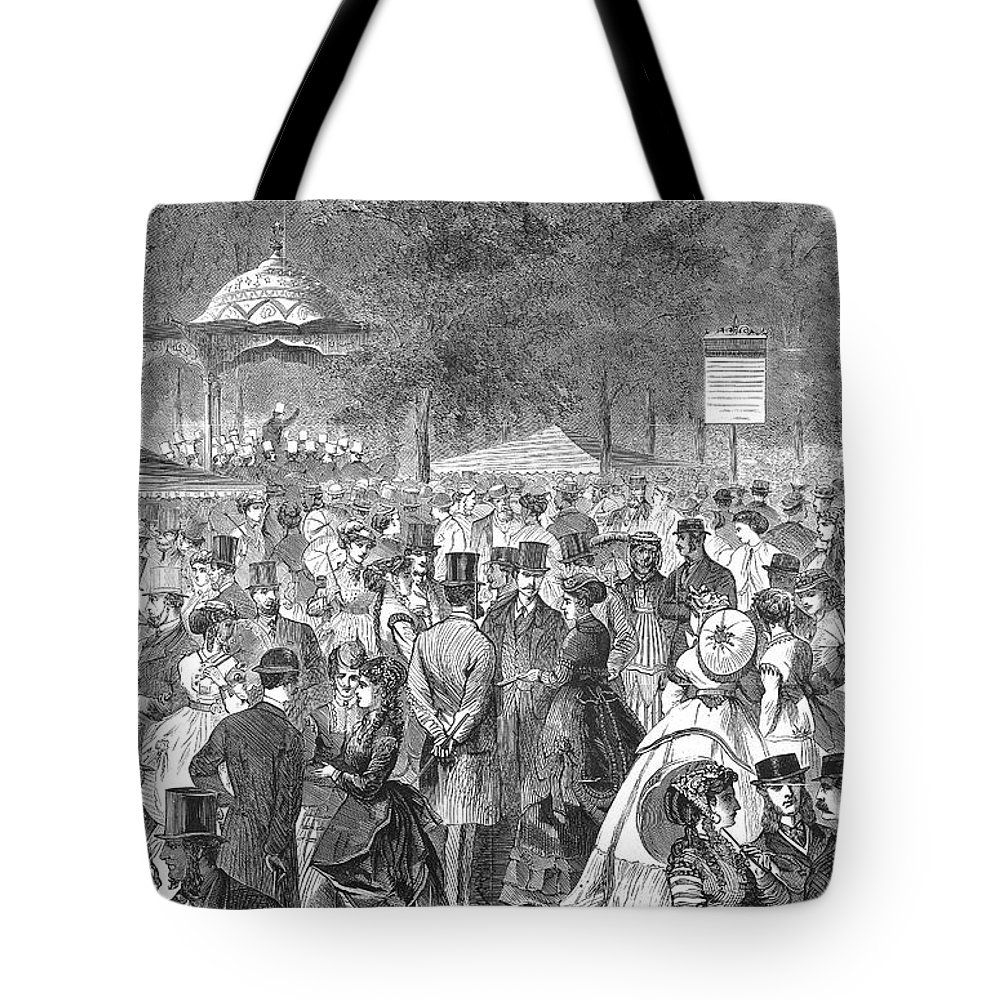 1869 Tote Bag featuring the photograph New York: Bandstand, 1869 by Granger
