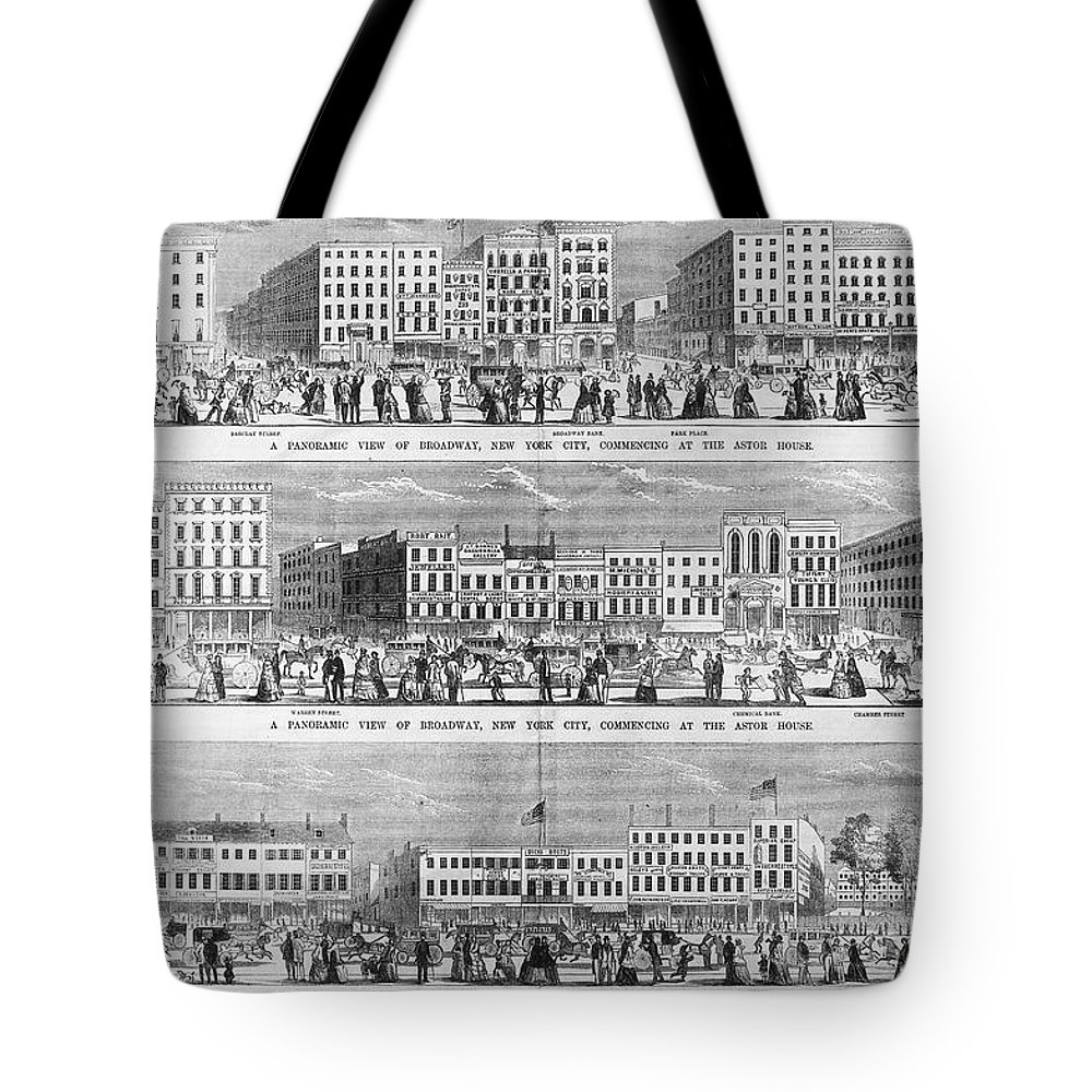 1851 Tote Bag featuring the photograph New York: Broadway, 1851 by Granger