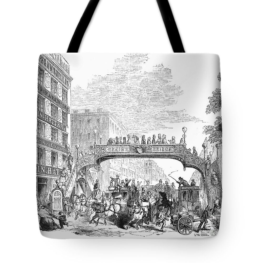 1852 Tote Bag featuring the photograph New York: Broadway, 1852 by Granger