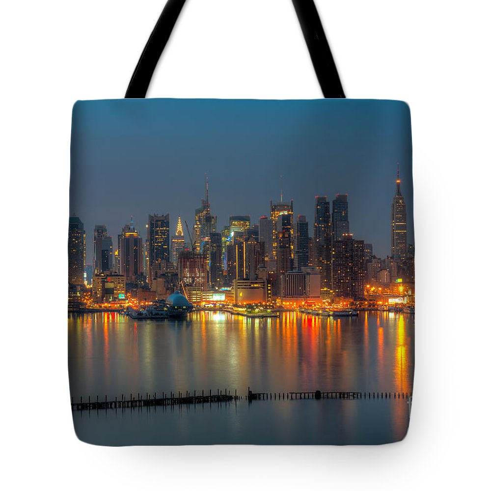 Clarence Holmes Tote Bag featuring the photograph New York City Skyline Morning Twilight Xi by Clarence Holmes