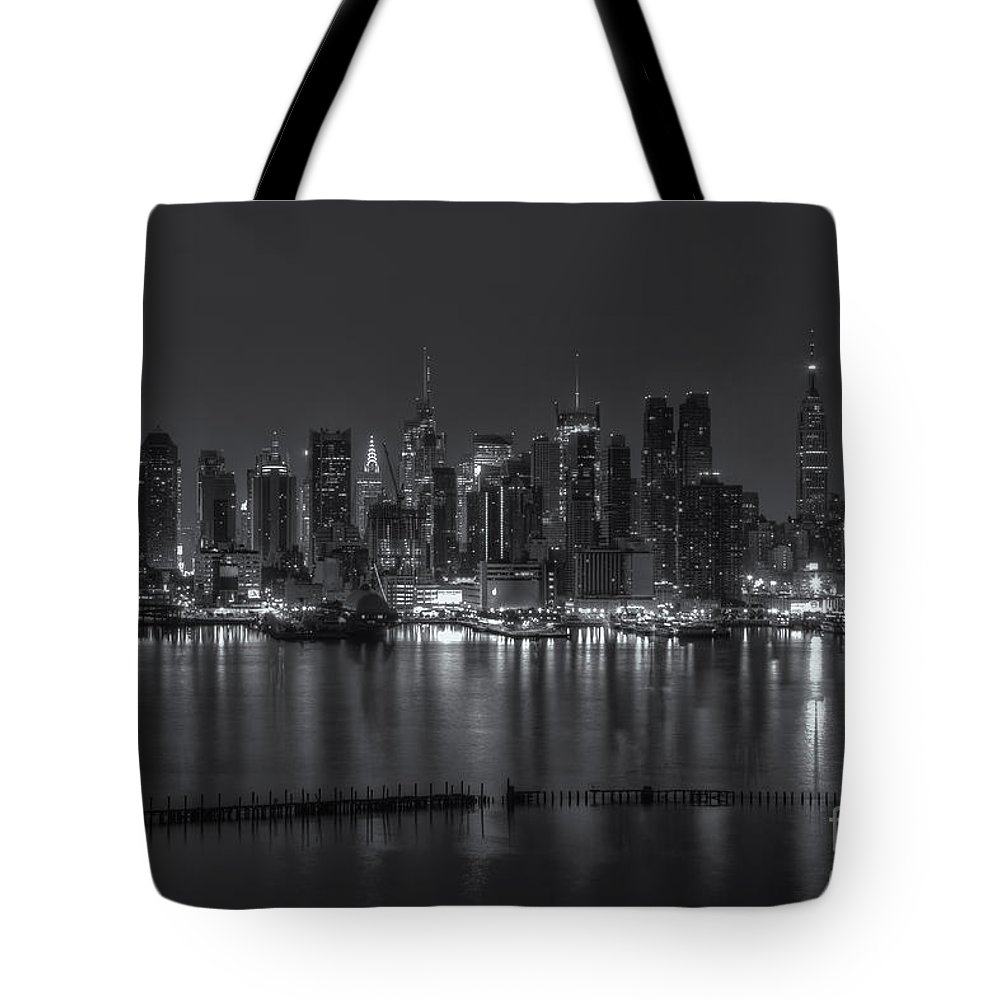 Clarence Holmes Tote Bag featuring the photograph New York City Skyline Morning Twilight Xvi by Clarence Holmes
