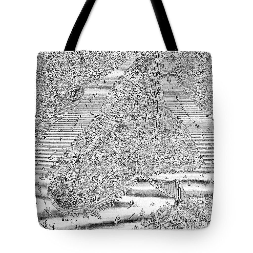 1878 Tote Bag featuring the photograph New York: El Train, C1878 by Granger