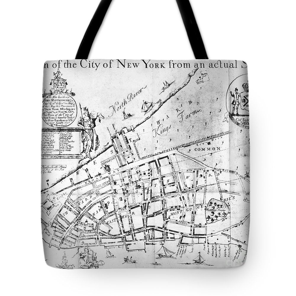 1730 Tote Bag featuring the photograph New York Map, 1730 by Granger