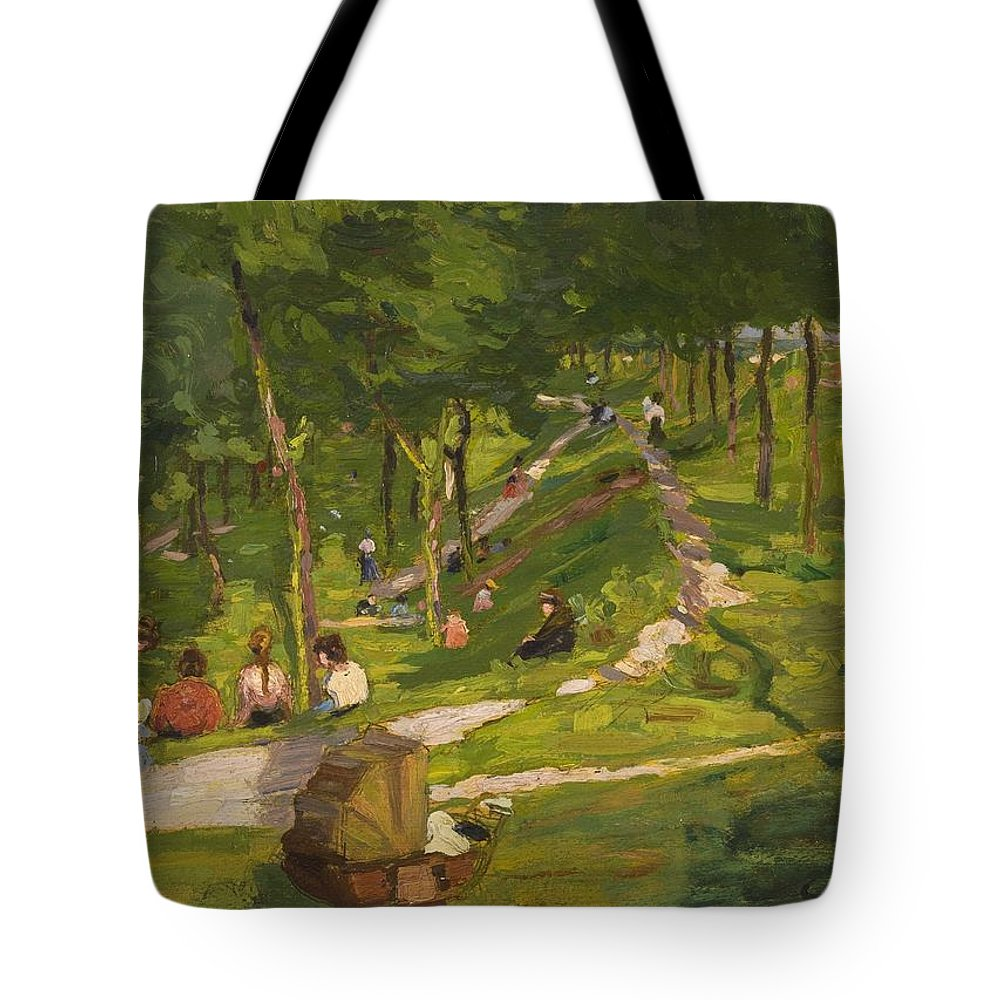 Urban Tote Bag featuring the painting New York Park by George Luks