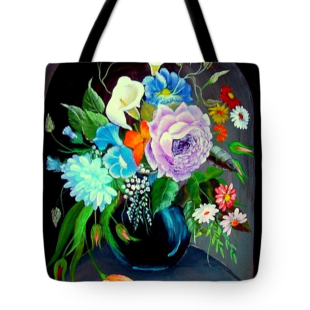 Floral--still Life Tote Bag featuring the painting Niche by Fram Cama
