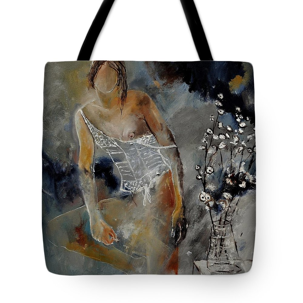 Nude Tote Bag featuring the painting Nide 6621901 by Pol Ledent
