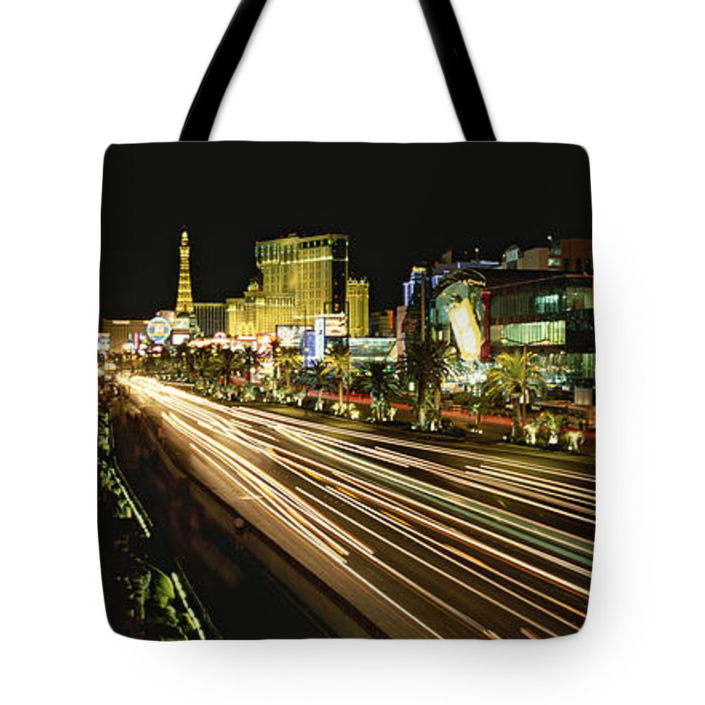 North America Tote Bag featuring the photograph Night Exposure Of The Strip On Las by Rich Reid