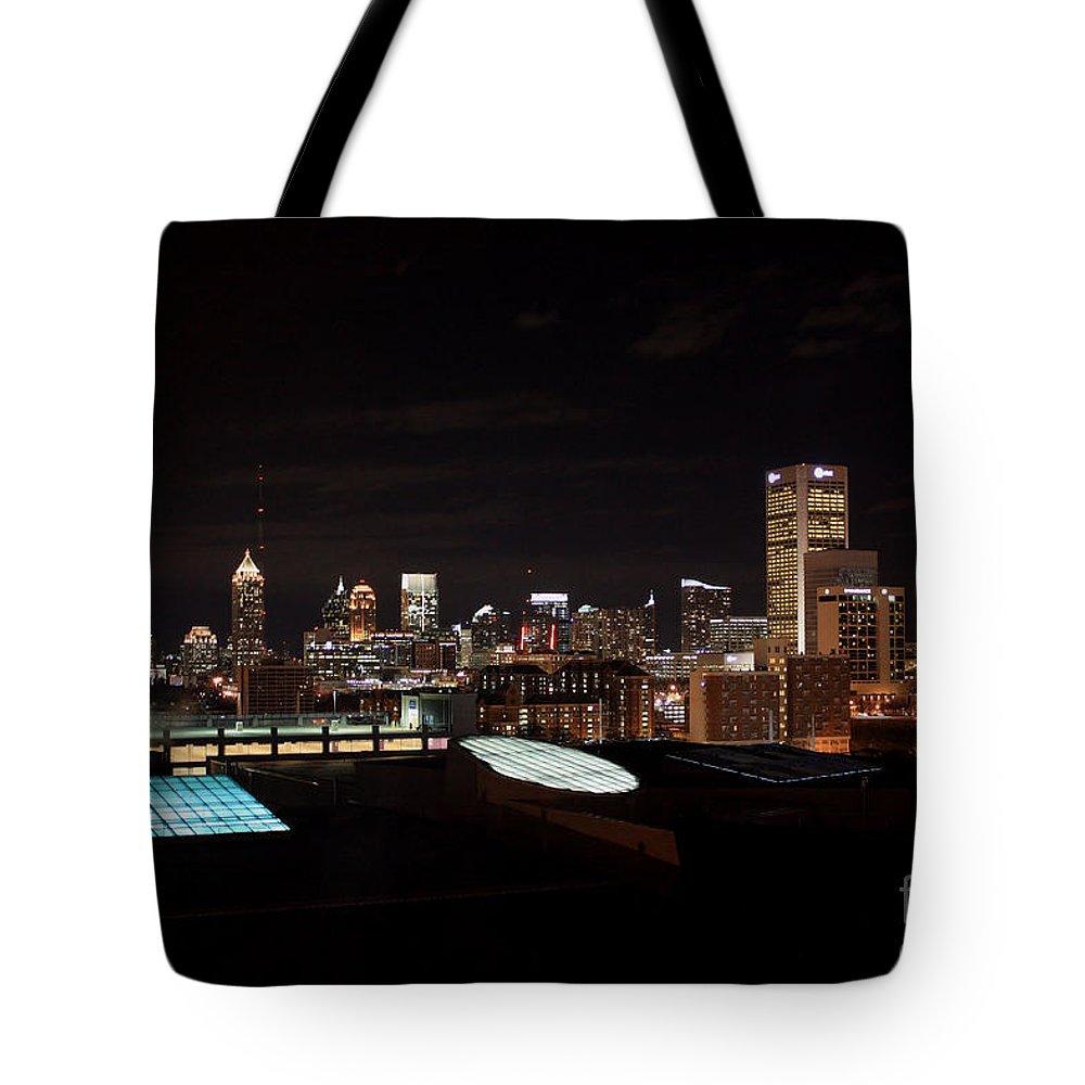 Atlanta Nightscape Tote Bag featuring the photograph Night Lights Of Atlanta by Carol Groenen
