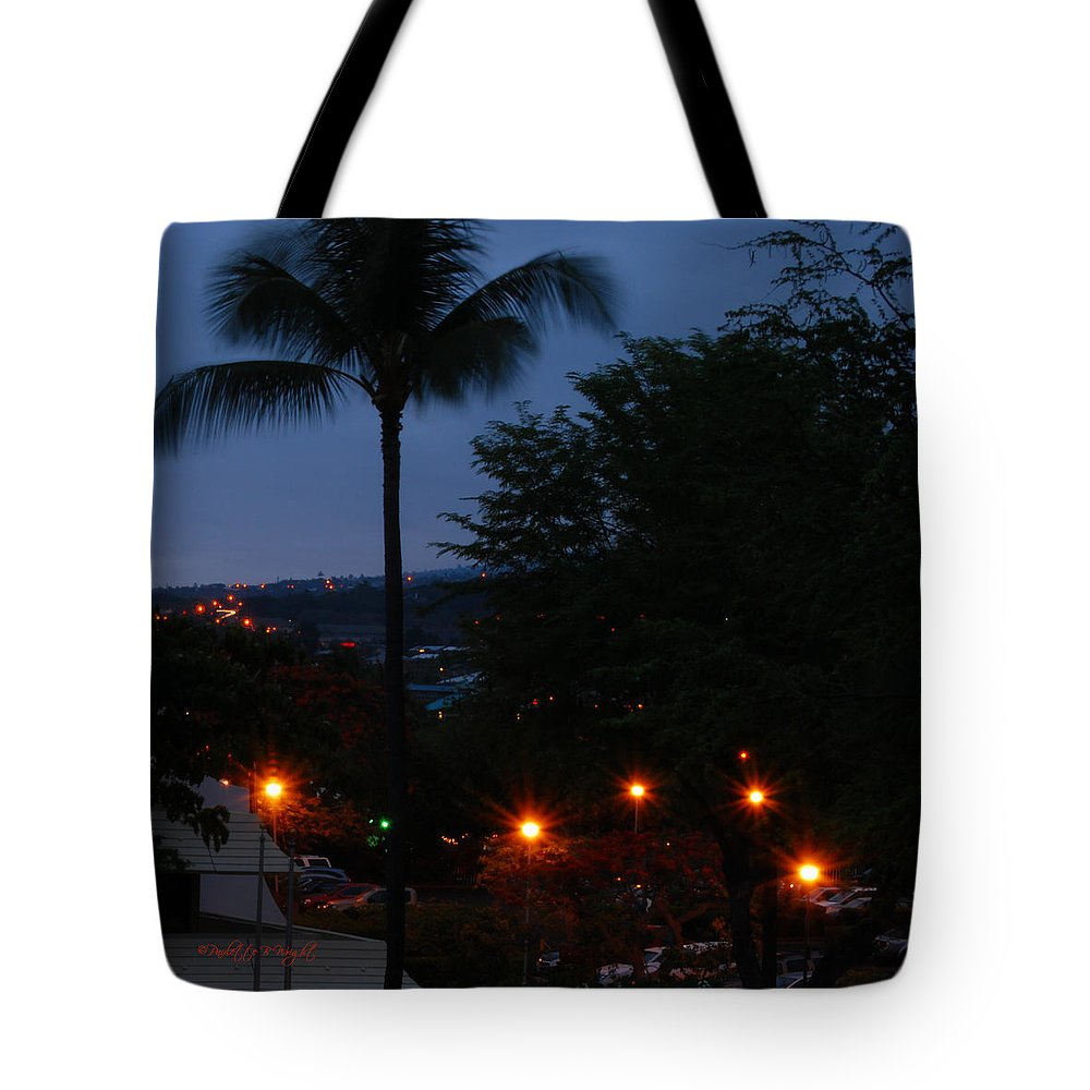 Kona Tote Bag featuring the photograph Night Lights On The Mountain by Paulette B Wright