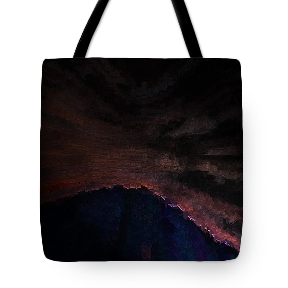 Abstract Tote Bag featuring the digital art Night Scene by Lenore Senior