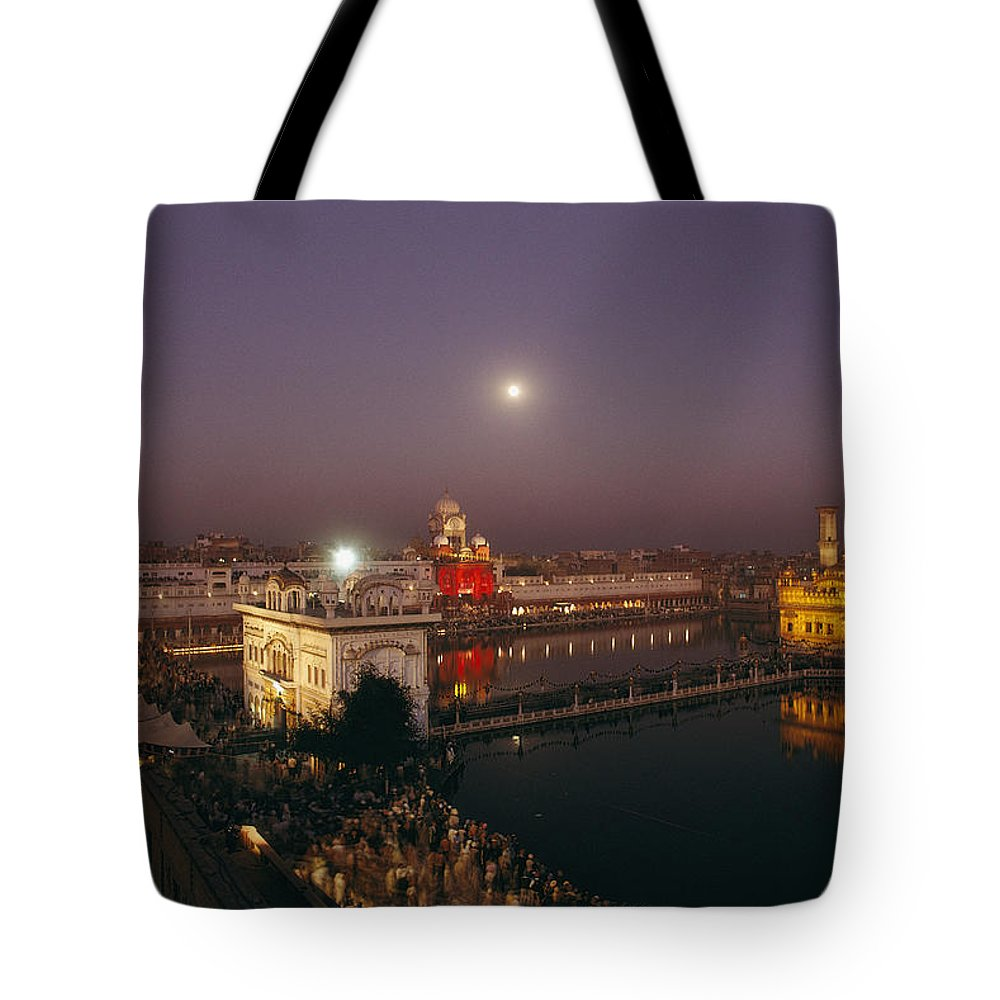 Asia Tote Bag featuring the photograph Night View Of Amritsar by James P. Blair