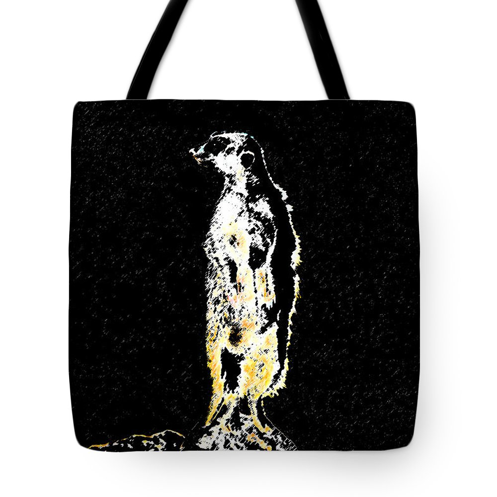 Meerkat Tote Bag featuring the painting Night Watch by David Lee Thompson