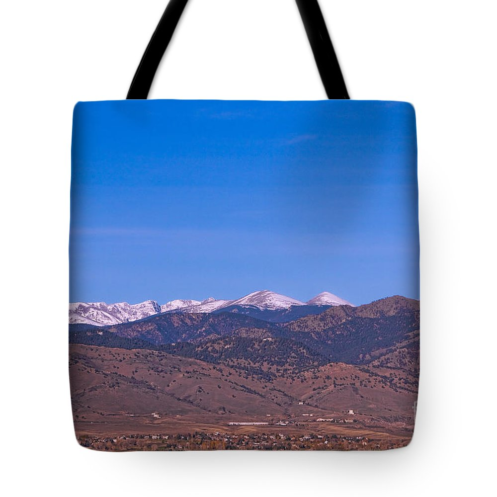 Boulder Tote Bag featuring the photograph North Boulder County Colorado Full Moon View by James BO Insogna