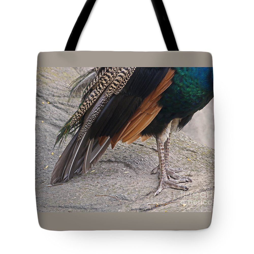 Peahen Tote Bag featuring the photograph Her Kind Of Beauty by Ann Horn