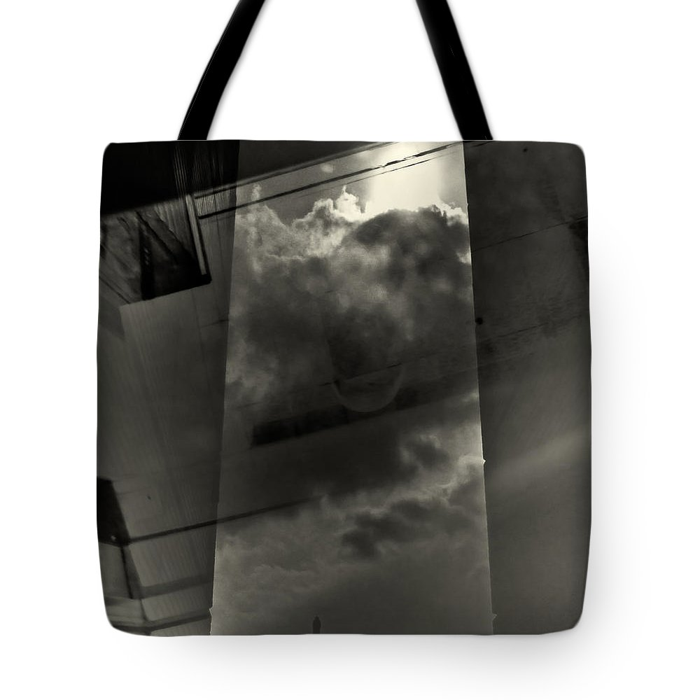 Black/white Tote Bag featuring the photograph Notinsight by Michele Mule'
