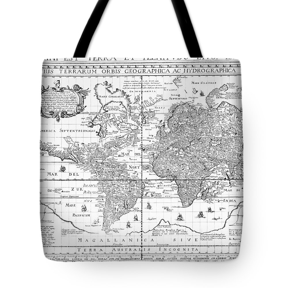 Maps Tote Bag featuring the drawing Nova Totius Terrarum Orbis Geographica Ac Hydrographica Tabula by Dutch School