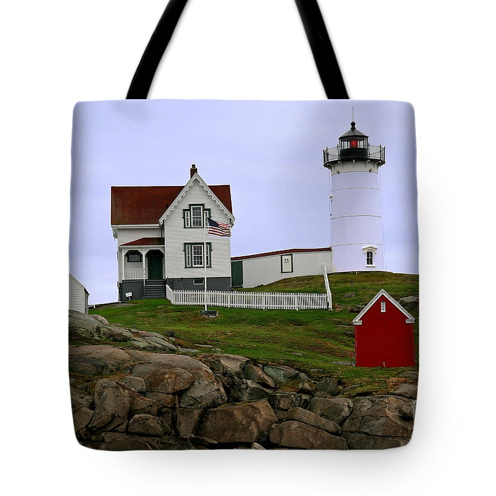 Nubble Light Tote Bag featuring the photograph Nubble Lighthouse by Brenda Giasson