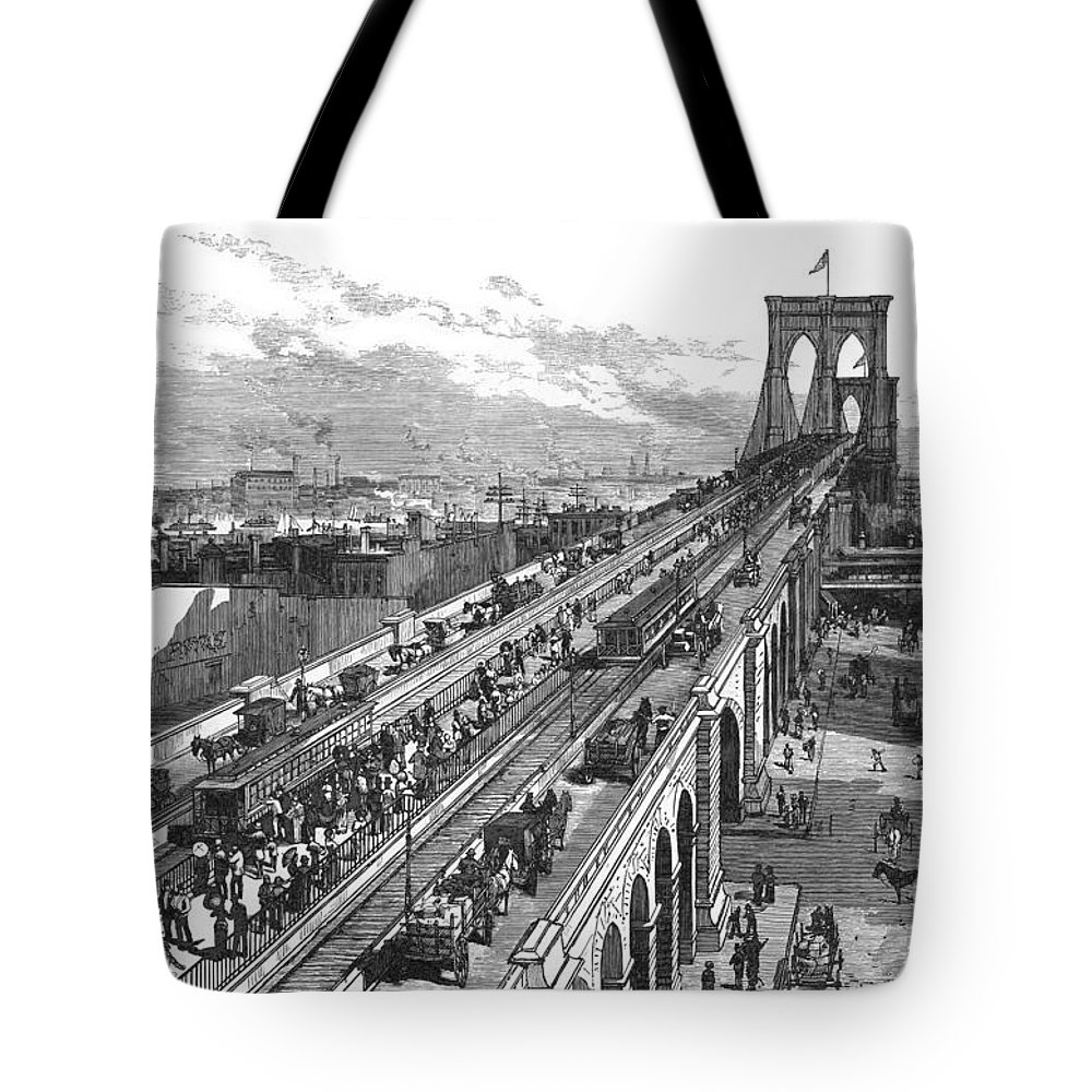 1883 Tote Bag featuring the photograph Ny: Brooklyn Bridge, 1883 by Granger