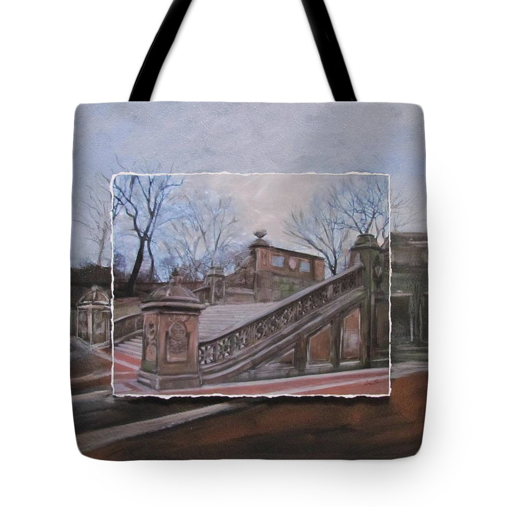 Nyc Tote Bag featuring the mixed media Nyc Bethesda Stairs Layered by Anita Burgermeister
