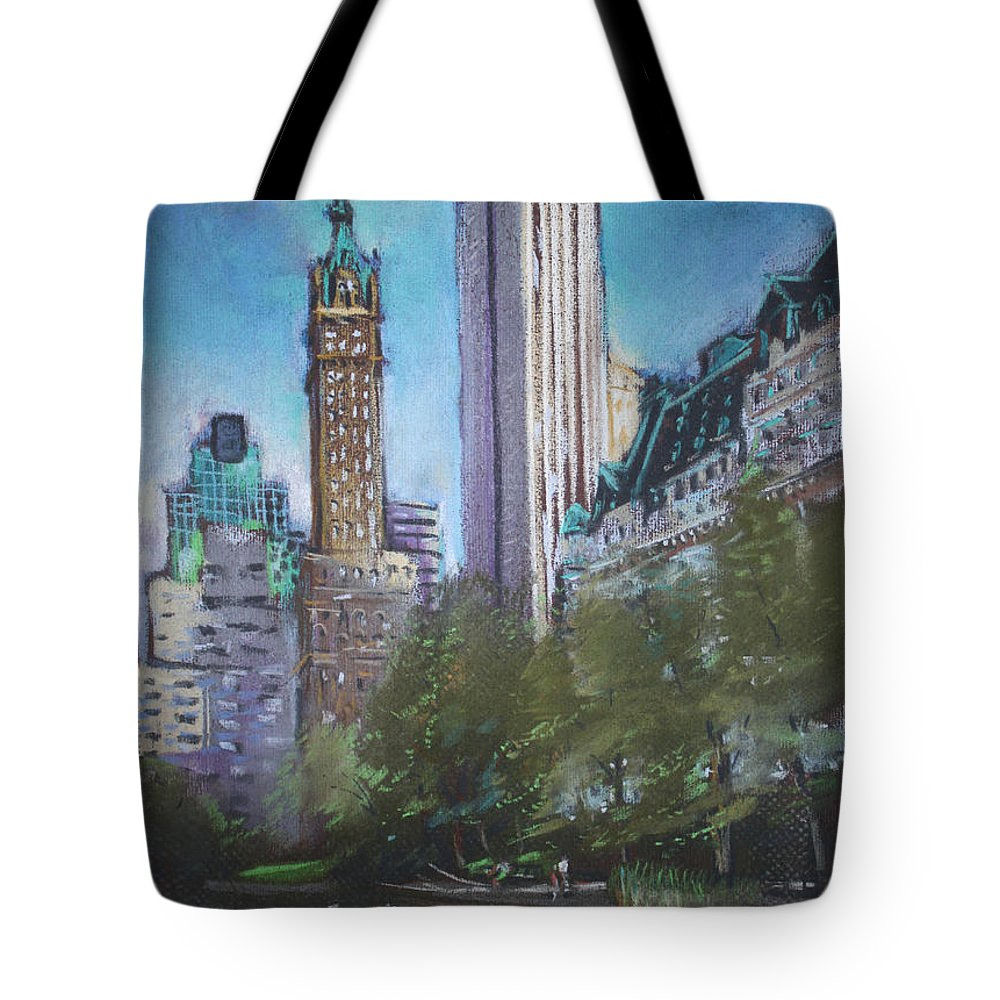 Ny City Tote Bag featuring the pastel Nyc Central Park 2 by Ylli Haruni