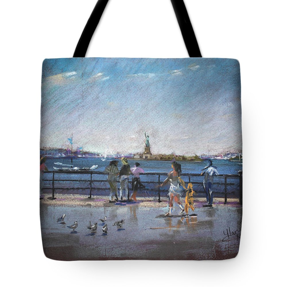 Ny City Tote Bag featuring the pastel Nyc Grand Ferry Park 2 by Ylli Haruni