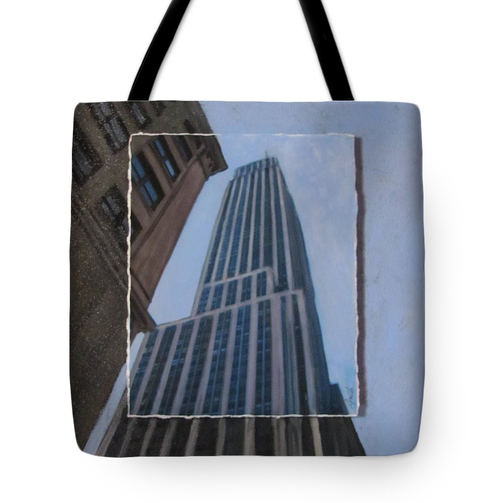 Nyc Tote Bag featuring the mixed media Nyc Severe Empire Layered by Anita Burgermeister