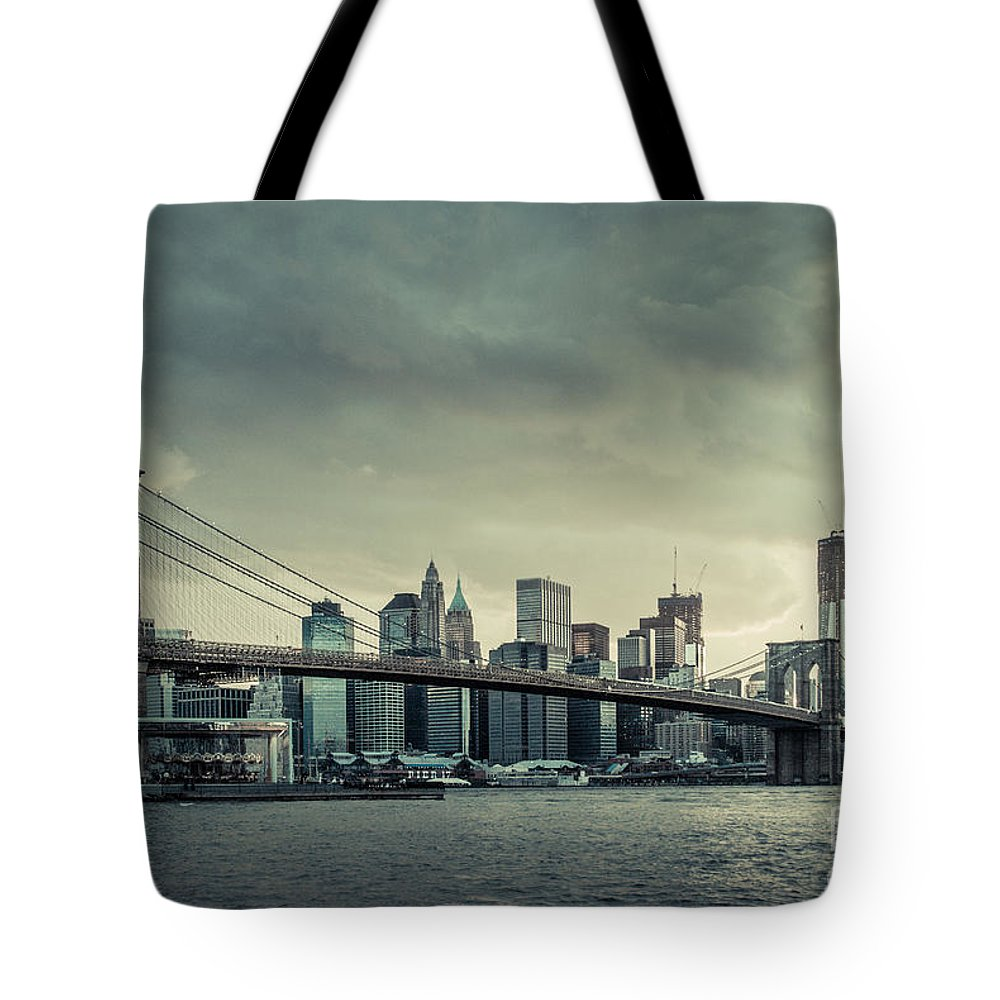 Nyc Tote Bag featuring the photograph Nyc Skyline In The Sunset V2 by Hannes Cmarits