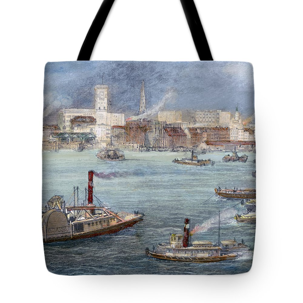 1884 Tote Bag featuring the photograph Nyc: The Battery, 1884 by Granger