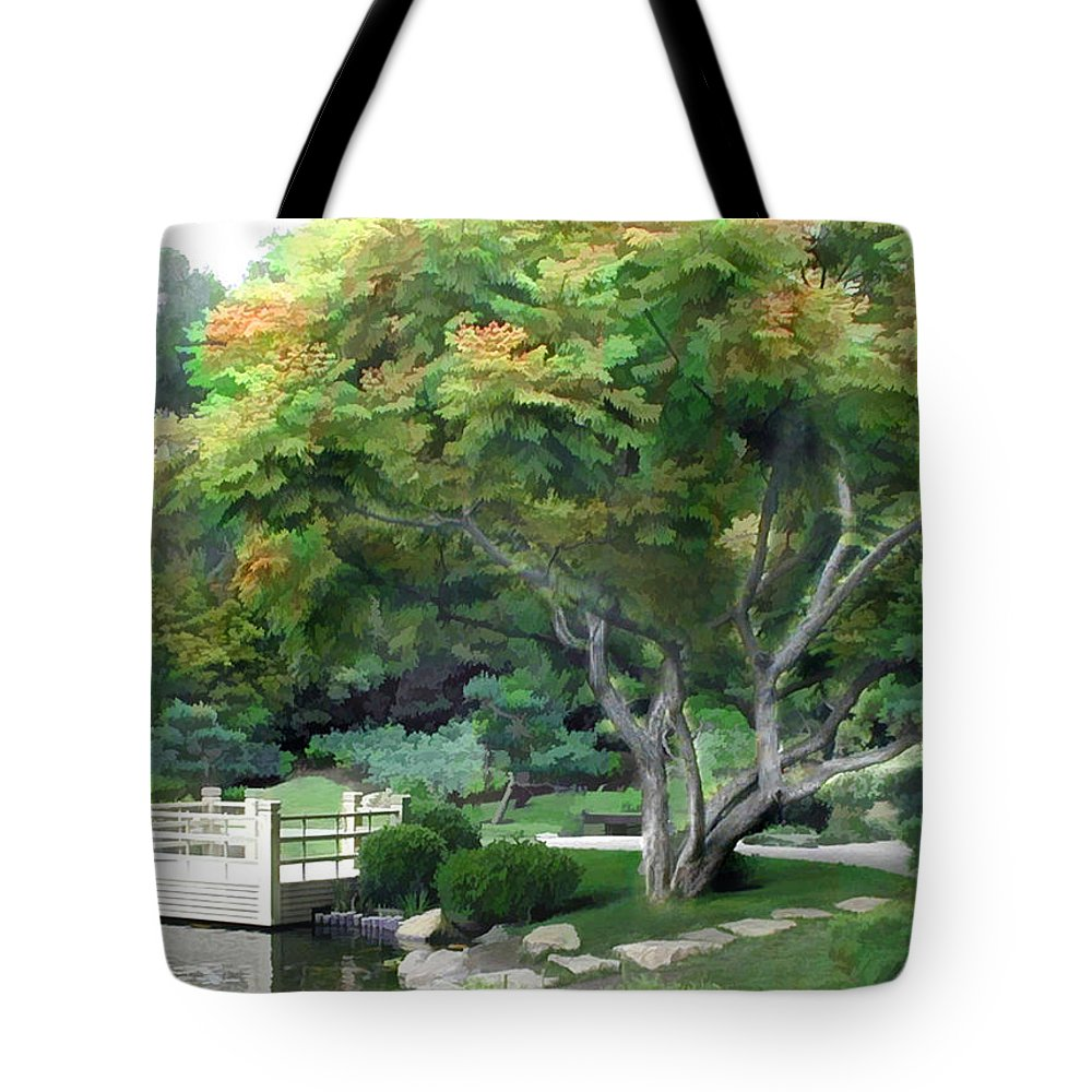 Japanese Garden Tote Bag featuring the painting Oasis In A Sea Of Green by Elaine Plesser