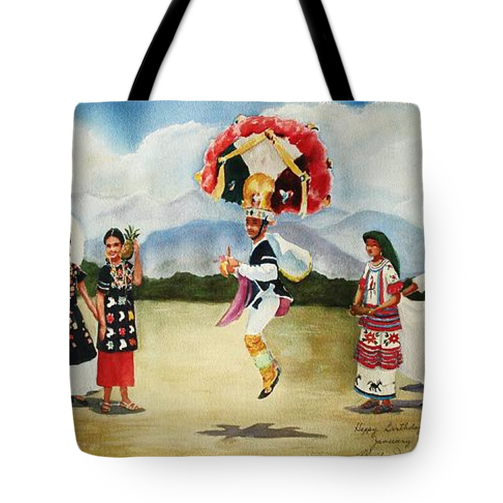 Mexico Tote Bag featuring the painting Oaxaca Dancers by Marilyn Jacobson