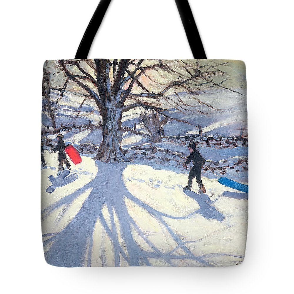Toboggan Tote Bag featuring the painting obogganers near Youlegrave by Andrew Macara