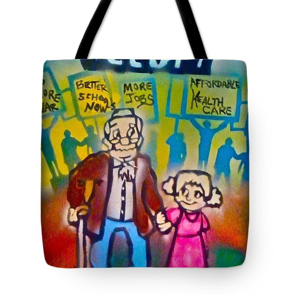 Occupy Tote Bag featuring the painting Occupy The Young And Old by Tony B Conscious