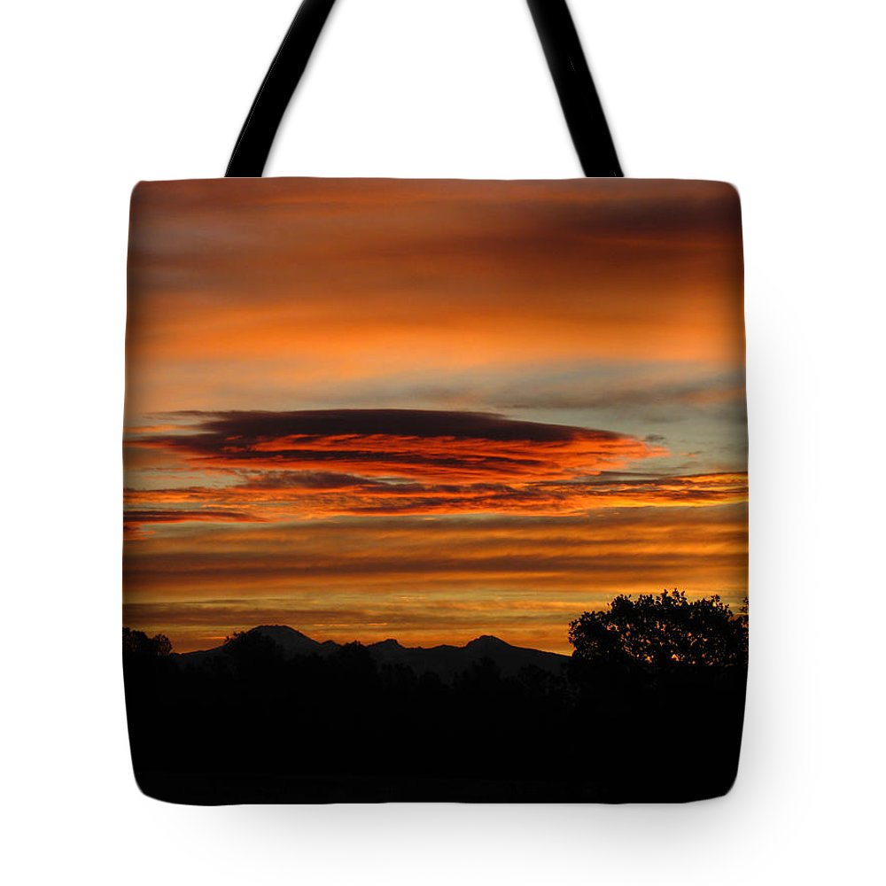 Sun Tote Bag featuring the photograph October's Colorful Sunrise 2 by Joyce Dickens