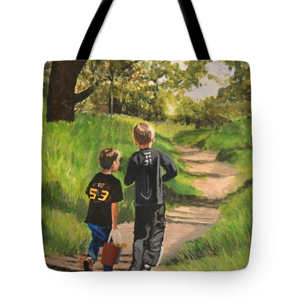Children Tote Bag featuring the painting Off To The Sand Pit by Betty-Anne McDonald