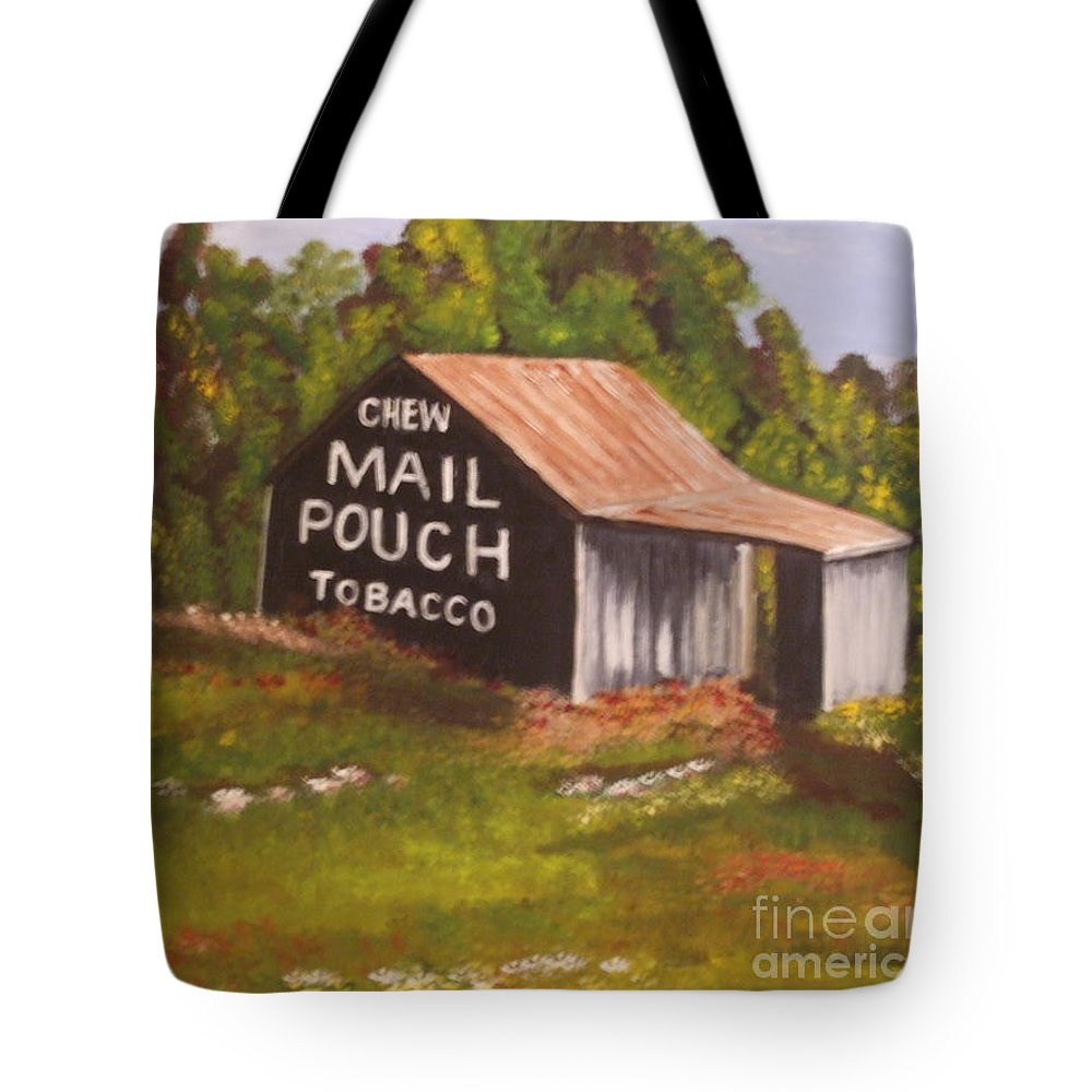 Landscape Tote Bag featuring the painting Ohio Mail Pouch Barn by Evelyn Froisland