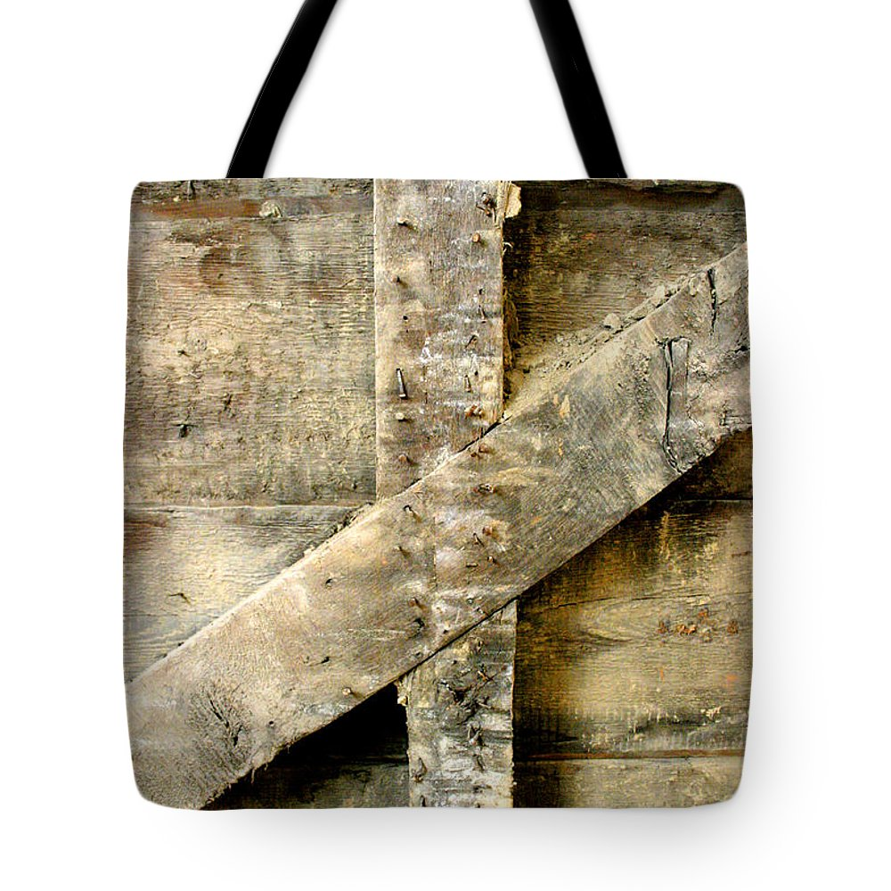 Woodwork Tote Bag featuring the photograph Old Beams by Ralph Jasinski