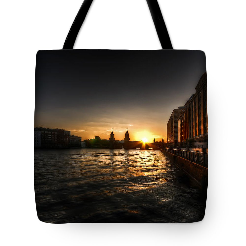 Architecture Tote Bag featuring the photograph Old Docks Sunset. by Nathan Wright