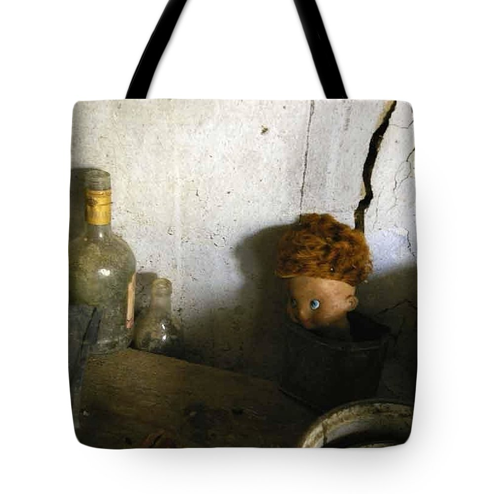 Doll Tote Bag featuring the photograph Old Doll In The Attic by Draia Coralia