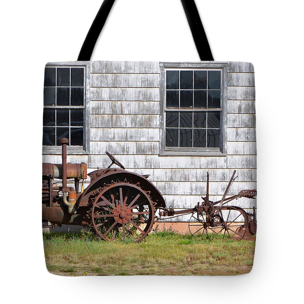 Fine Art Tote Bag featuring the photograph Old Farm Equipment by Donna Greene