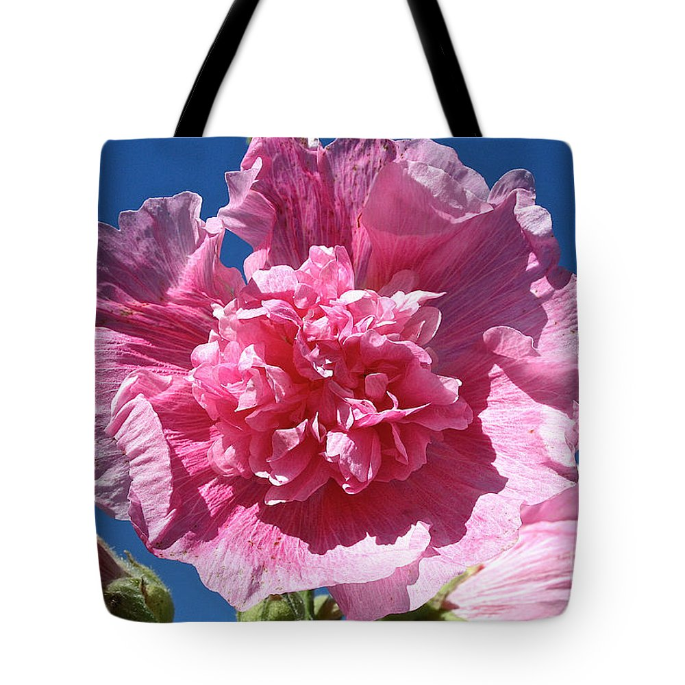Flower Tote Bag featuring the photograph Old Fashioned Hollyhock by Susan Herber