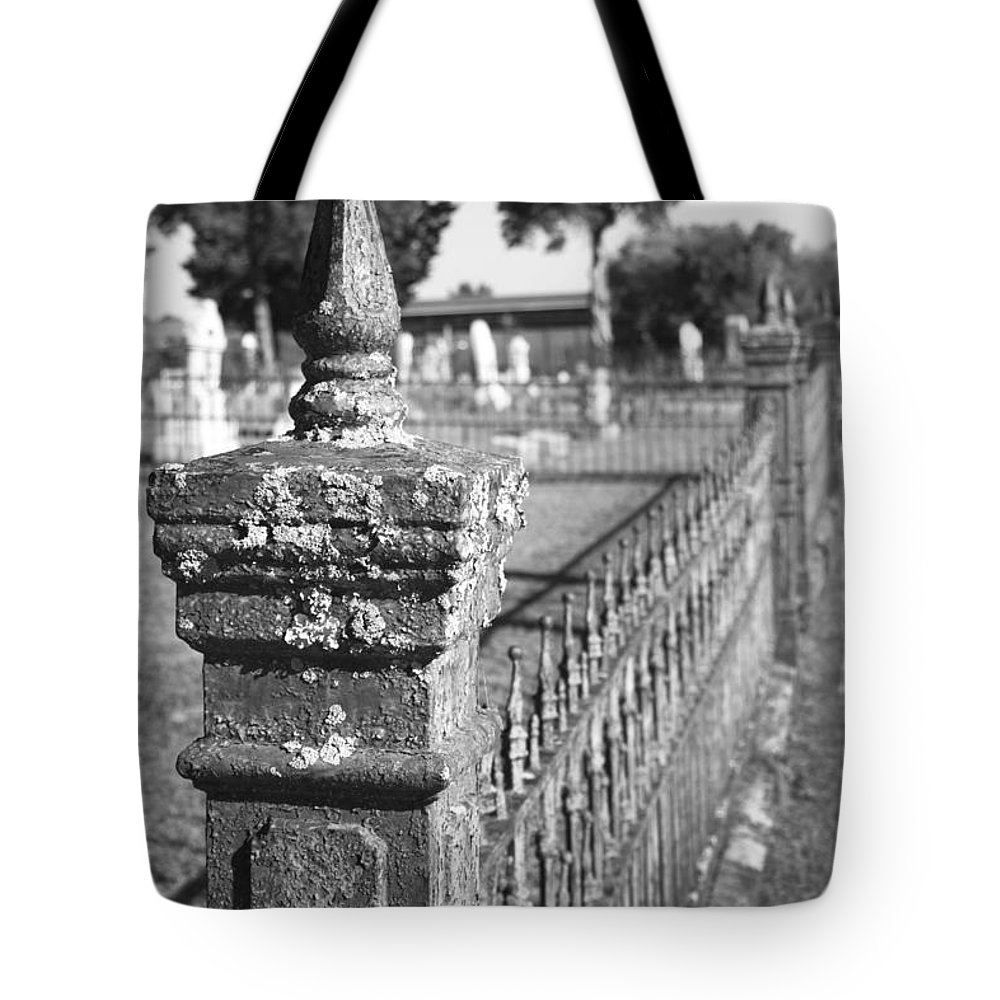 Graveyard Tote Bag featuring the photograph Old Graveyard Fence In Black And White by Kathy Clark