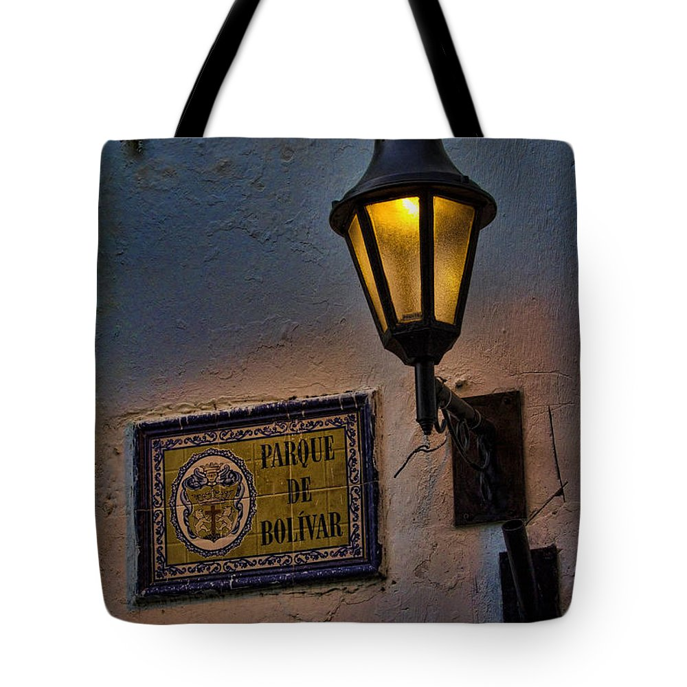 Cartagena Tote Bag featuring the photograph Old Lamp On A Colonial Building In Old Cartagena Colombia by David Smith